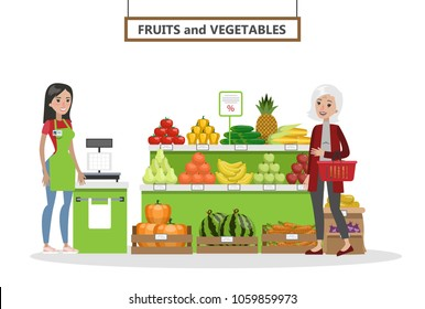 Supermarket interior set. Happy people buying vegetables and fruits on white.