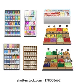 Supermarket Interior Set - Isolated On White Background - Vector Illustration, Graphic Design Editable For Your Design