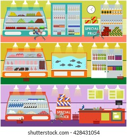 Supermarket interior vector illustration in flat style. Product items in food store. Groceries and foodstuff on shelves.