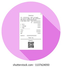 Supermarket invoice or pay slip with qr code give more information or offer an online payment. Flat design. (Replace the QR code with yours).