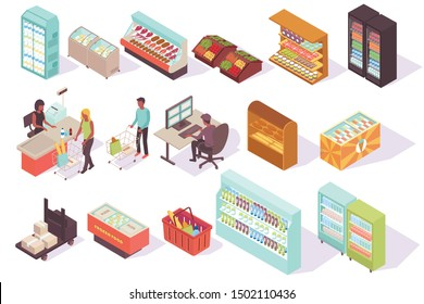 Supermarket isometric collection with isolated images of store freezers racks with shadows and characters of customers vector illustration
