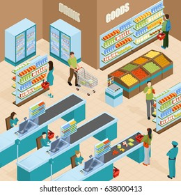 Supermarket isometric design concept with shelves filled by products buyers and cashiers vector illustration