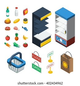 Supermarket isometric icon set with isolated elements of food equipment and grocery attributes vector illustration