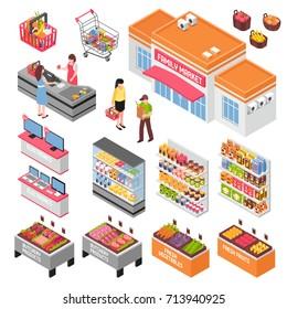 Supermarket isometric set with food and electronics symbols isolated vector illustration