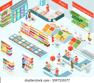 Supermarket isometric vector illustration of trading hall interior with buyers in meet drinks vegetables and fruits sections