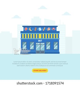 Supermarket Landing Page Template, Store Delivery Web Page, Mobile App Vector Illustration