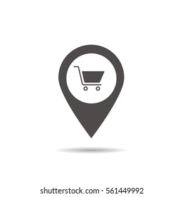 Supermarket location icon. Drop shadow map pointer silhouette symbol. Shopping cart pinpoint. Grocery store nearby. Vector isolated illustration