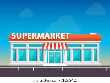 Supermarket on the roadside art. Vector illustration