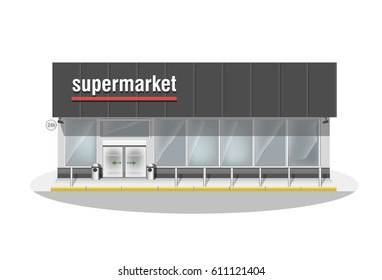 Supermarket. Premium big shop showcase and entrance automatic door. Store with white vector panorama windows.