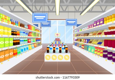 Supermarket and products poster diversity of items, plastic bottles with sweet water, jars with jams, packages with milk and juice vector illustration