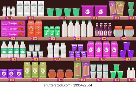 Supermarket, shelf with food and drinks package boxes. Price tag on racks. Illustration with flat and solid color design.