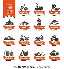 Supermarket Shelf Icon Set - 4
