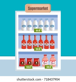 supermarket shelf with products