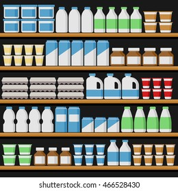Supermarket. Shelfs with Milk Products. Vector