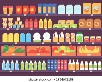 Supermarket shelves with food products. Grocery store shelf with assortment, pasta, diary, flour, fruits and drinks. Market vector concept