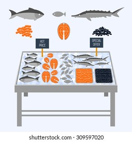 Supermarket shelves with fresh fish on ice cubes.