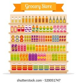 Supermarket shelves with groceries: food and drinks. EPS10 vector illustration in flat style.
