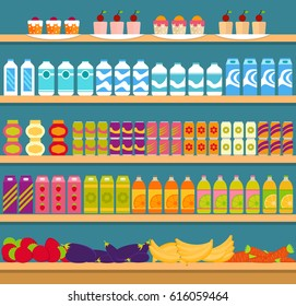 Supermarket shelves with groceries. Showcase with foods and drinks for sale. EPS10 vector illustration in flat style.