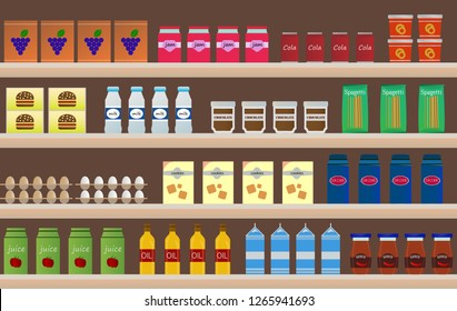 Supermarket shelves with products and drinks. Vector illustration