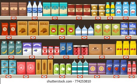 Supermarket, shelves with products and drinks. Vector illustration