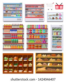 Supermarket shelves set with groceries. Goods and products. Food and drinks in boxes and bottles, bread, vegetables. Various packages on racks. Mall, shop, retail store. Vector illustration flat style