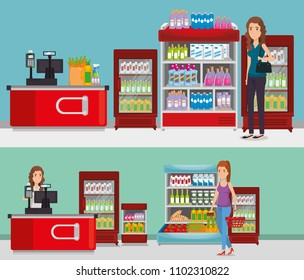 supermarket shelvings with people buying