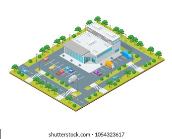 Supermarket or Shop Building Concept 3d Isometric View Exterior Construction with Street and Car. Vector illustration of Store or Mall