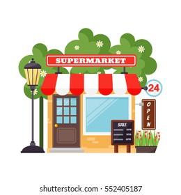 Supermarket shop facade vector.