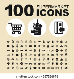Supermarket and shop icons. Trade pictogram. Market vector graphic. Commercial design collection.