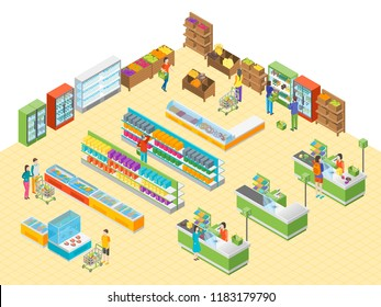 Supermarket or Shop Interior with Furniture for Ad Isometric View. Vector illustration of Grocery Market or Mall with Showcase and People