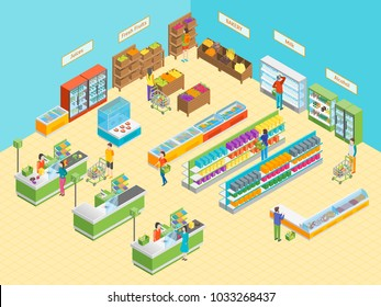 Supermarket or Shop Interior with Furniture Isometric View. Vector illustration of Grocery Market or Mall with Showcase and People