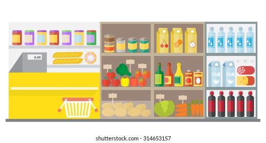 Supermarket, shop interior: showcases, shelves, fruits, vegetables, fridge, cash, shopping basket. Flat vector illustration