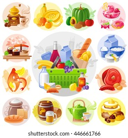 Supermarket shopping bag icons set with food and drink icons. Coffee, fruits, vegetables, ice cream, sushi rolls, dairy, cheese, milk, yogurt, fish, meat, sausage, bakery, beer, tea, cake, chocolate