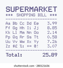 Supermarket shopping bill font, alphabet and numbers