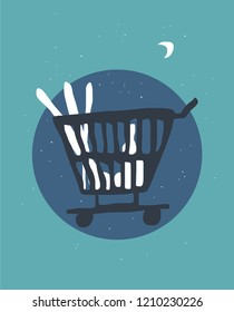 Supermarket shopping cart abstract vector illustration.
