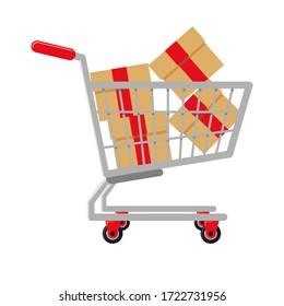 Supermarket shopping cart design, basket used for shopping, flat  illustration design shopping cart