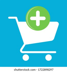 Supermarket shopping cart design, basket used for shopping, flat  illustration design shopping cart, Add shopping items