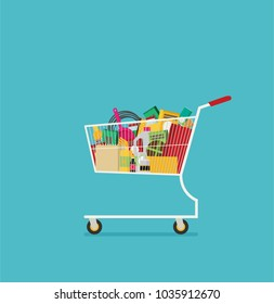 Supermarket shopping cart flat vector isolated on color background