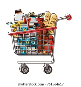 supermarket shopping cart with foods sausage and bread apples and drinks orange juice and water bottle and lacteal in watercolor silhouette