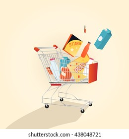 A supermarket shopping cart full with various fresh grocery products. Isolated on white background. Vector illustration.
