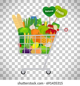 Supermarket shopping cart with products and goods isolated on transparent background. Vector illustration