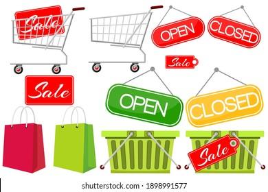 Supermarket shopping Elements Set. Food store, supermarket. Vector isolated illustration on white background