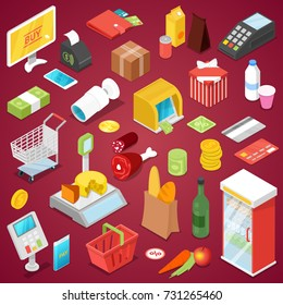 Supermarket shopping isometric set. Food and drinks, money, credit card and payment terminal, shopping basket and trolley cart, cashbox and scales, market refrigerator vector illustrations.