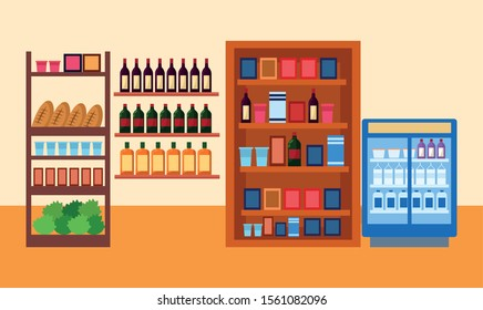 supermarket stands with bottles and groceries, colorful design , vector illustration