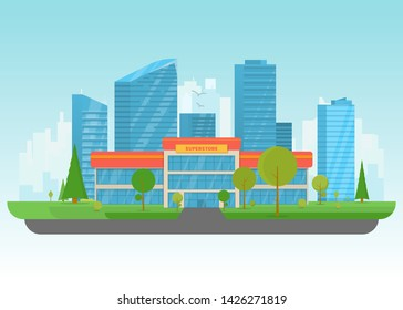Supermarket store building. Store building near park with trees and big city skyscrapers on background. Flat vector illustration. Tree and bushes near superstore. Front view of store facade.