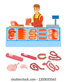 Supermarket store, butchers department with meal variety set vector. Pork and meat, sausages and frankfurter. Seller salesperson with raw food bacon