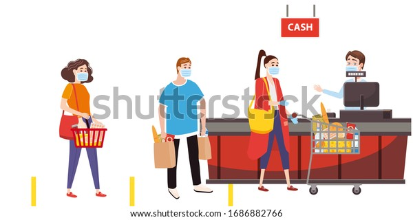 Supermarket store counter cashier and buyers in medical masks, with cart and basket of food. Quarantine coronavirus 2019-nCoV in the store social distancing epidemic precautions. Cartoon style vector