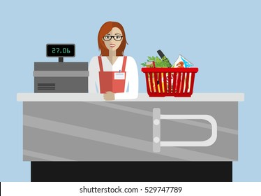 Supermarket store counter desk equipment and clerk in uniform ringing up grocery purchases. Flat style vector illustration isolated on blue background.