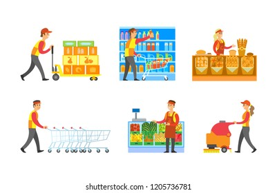 Supermarket store departments workers set vector. Man arranging bottles at shelves, shopping trolley. Cleaner and loader with goods. Bakery and fruits