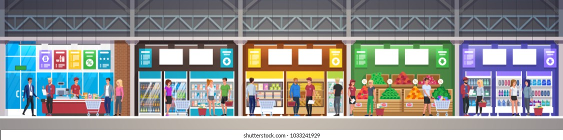 Supermarket store with goods. Mall Interior. Big shopping center. Interior store inside. People in line at cash desk. Scene inside shopping mall. Vector Illustration